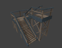 3d model of wooden outdoor staircase