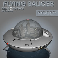 3d retro flying saucer model
