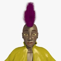 mohican punk helen female character 3d model