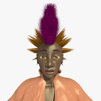 3d mohican punk woman helen model
