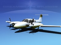 piper seminole pa-44-180t turbo 3d model