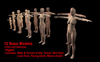 male female base rigged 3d c4d