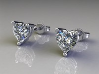 Earrings with heart stone diamonds