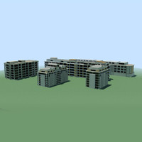 stylised buildings obj