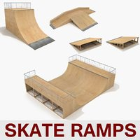 3d model skate ramp pipes fun