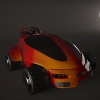 3d model of sci-fi car