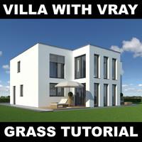 3d model family grass garden