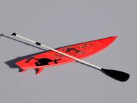 3d surfboard paddle model