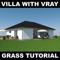 house grass realistic 3d model