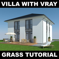 3d house grass realistic