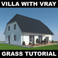 3d house grass realistic model
