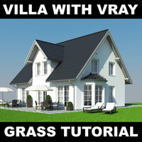 3d model house grass realistic