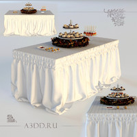 3d drapery standing buffet table model