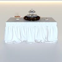 3d model drapery standing buffet table