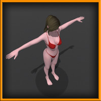 3d realistic woman character rigging model