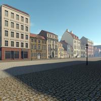 3d model city scene residence