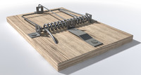 3d wood metal mousetrap model