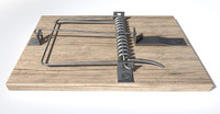 wood metal mousetrap c4d