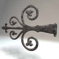 3d antique door hinge model