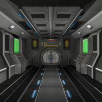 3ds sci-fi corridor door