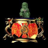 3d model chinese lantern lion