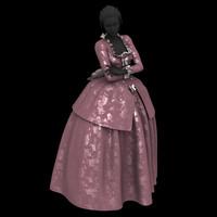 3d model baroque marie antoinette dress