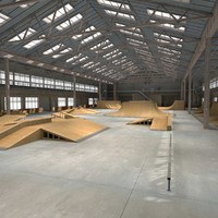 3d model skate park warehouse interior