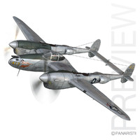 lockheed lightning - hazel 3d 3ds