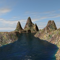 landscape water mountains c4d