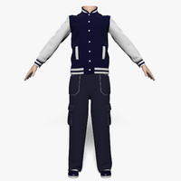 jacket pants boy 3d max