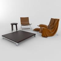 3d 3ds timeless flexform chair table