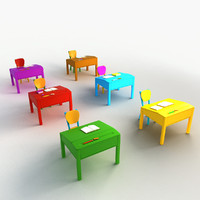 3d model cartoon desks chair
