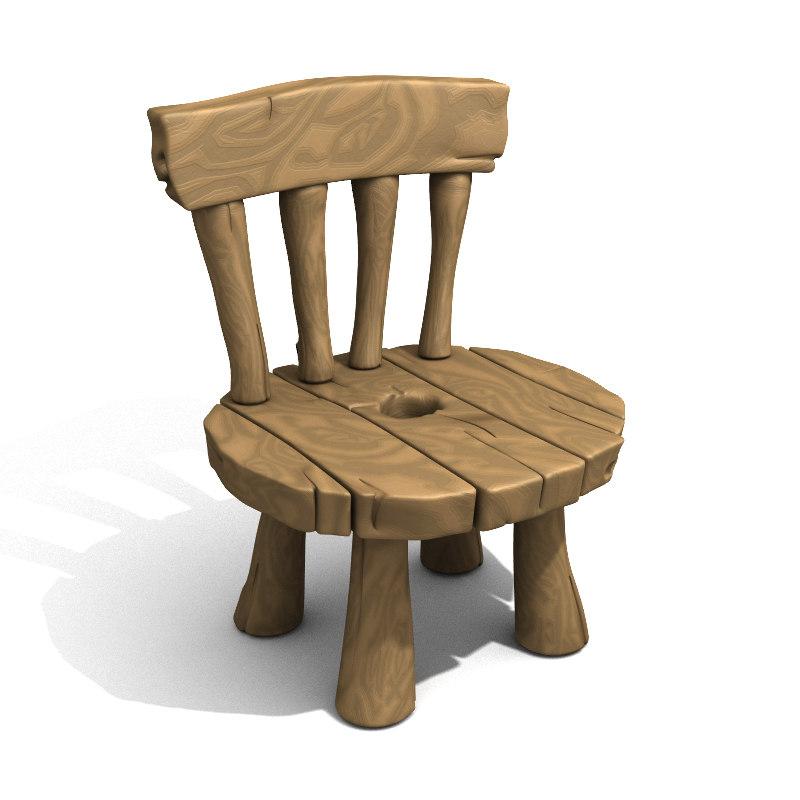 Cartoon Wooden Chair ~ Lwo cartoon chair