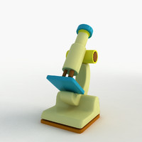cartoon microscope 3d model