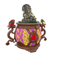 3d model chinese lantern lion statue