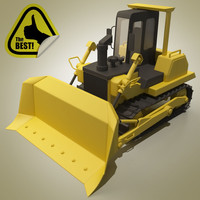 cartoon bulldozer car 3d model