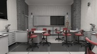 3d model of school laboratory lab