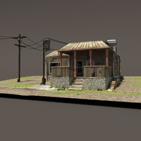 3ds old post apocalyptic house