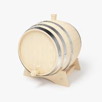 3d wooden wine barrel model