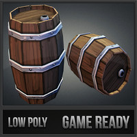 3d model barrel wood toon