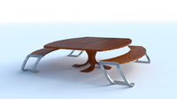 3d model modern table set bench