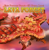 3d fantasy lava forest model