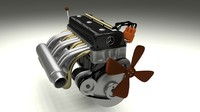 3d model mercedes 300sl engine