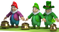 cartoon gnome gold pot 3d max