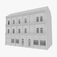 european building interior stores 3d model
