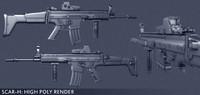 3d model weapon scar-h