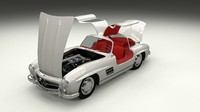 rigged mercedes 300sl gullwing 3d model
