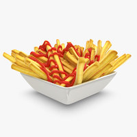 realistic french fries plate 3d 3ds