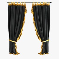 curtains velvet black 3d obj
