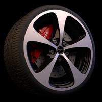 3d model wheel brakes tyre